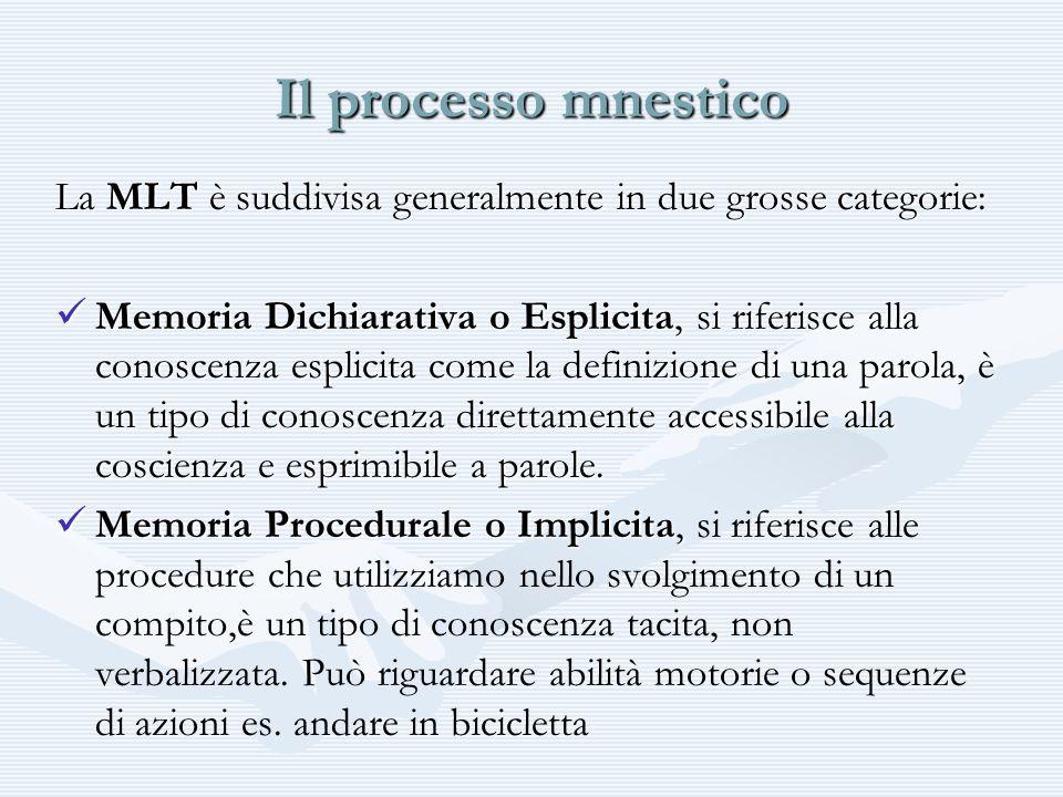 Il processo mnesticoLa MLT è suddivisa generalmente in due grosse categorie: