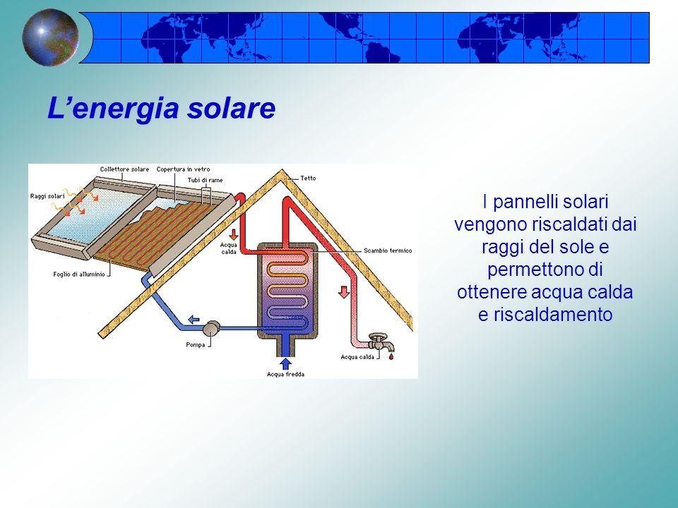 L'energia solare I pannelli solari vengono riscaldati dai raggi del sole e permettono di ottenere acqua calda e riscaldamento.
