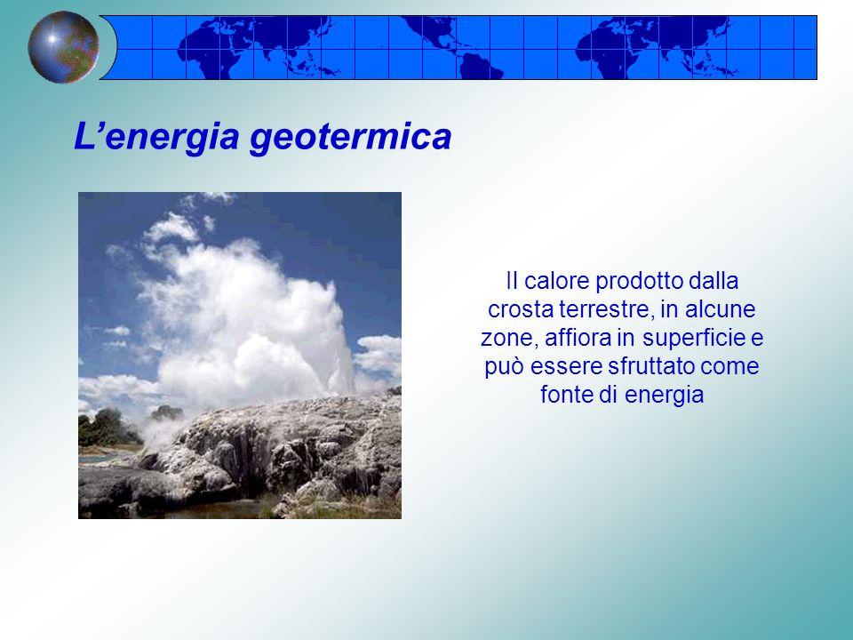 L'energia geotermica Il calore prodotto dalla crosta terrestre, in alcune zone, affiora in superficie e può essere sfruttato come fonte di energia.