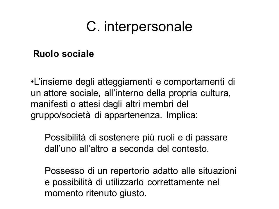 C. interpersonale Ruolo sociale
