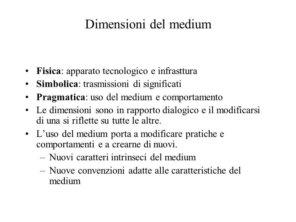 Dimensioni del medium Fisica: apparato tecnologico e infrasttura