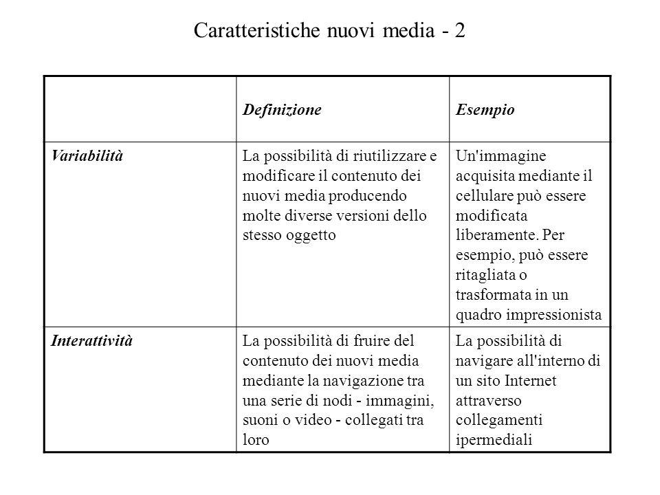 Caratteristiche nuovi media - 2