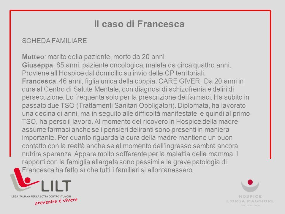 Il caso di Francesca SCHEDA FAMILIARE