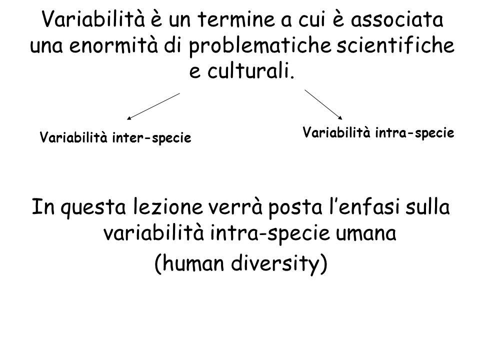 Variabilità è un termine a cui è associata una enormità di problematiche scientifiche e culturali.