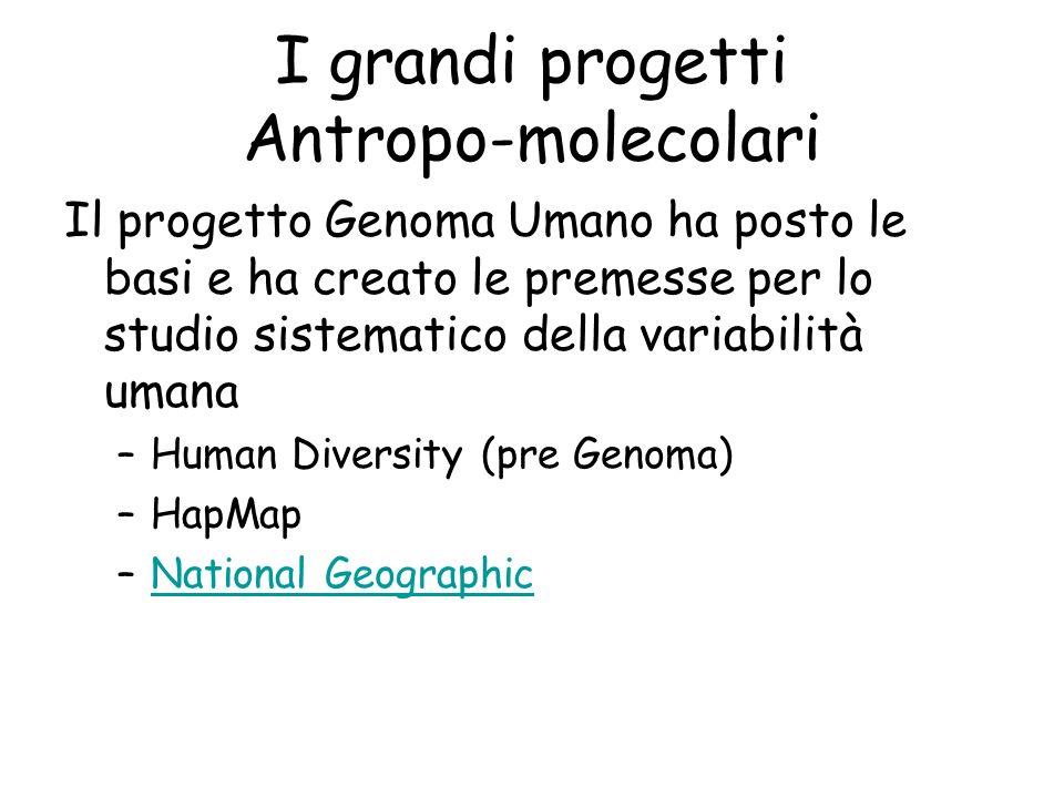 I grandi progetti Antropo-molecolari