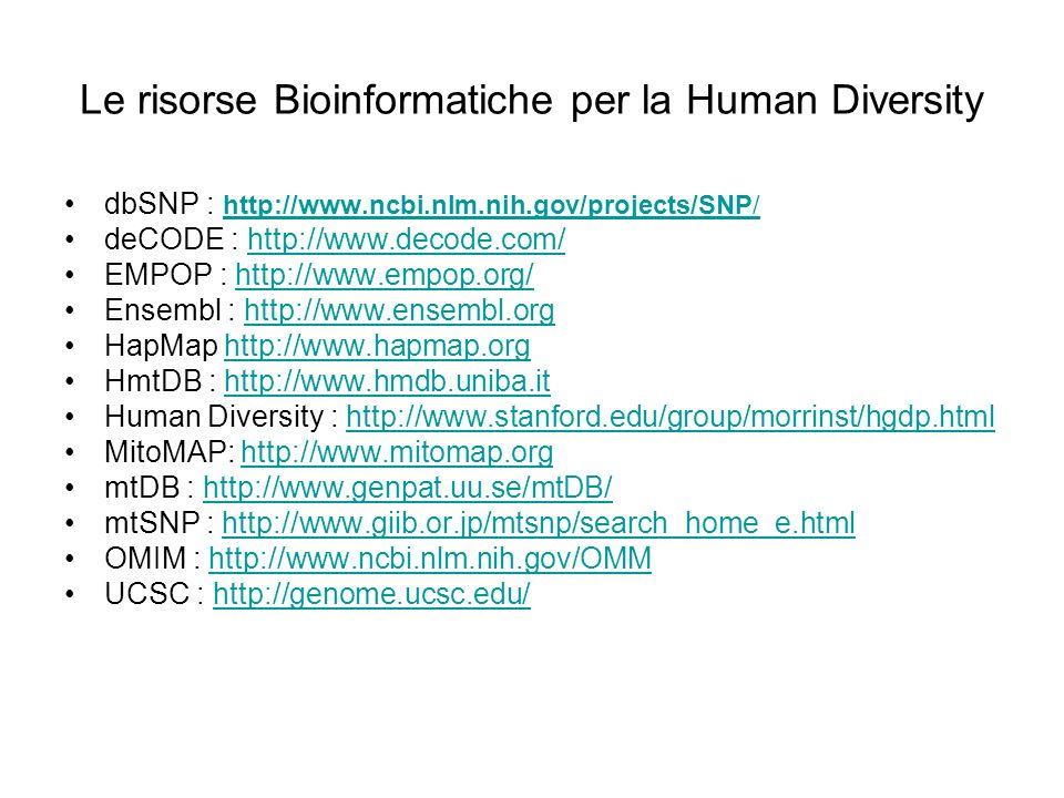 Le risorse Bioinformatiche per la Human Diversity