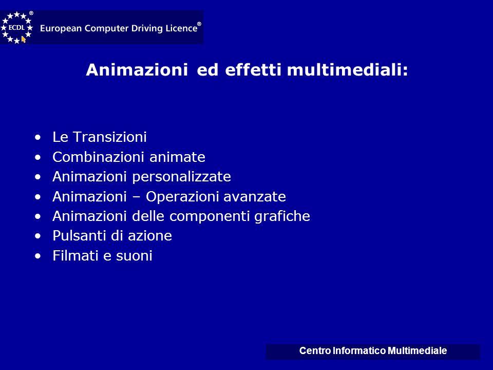 Animazioni ed effetti multimediali: