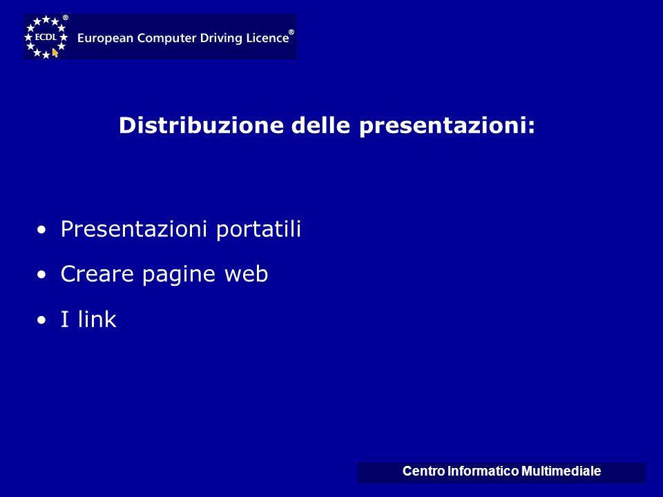 Distribuzione delle presentazioni: Centro Informatico Multimediale
