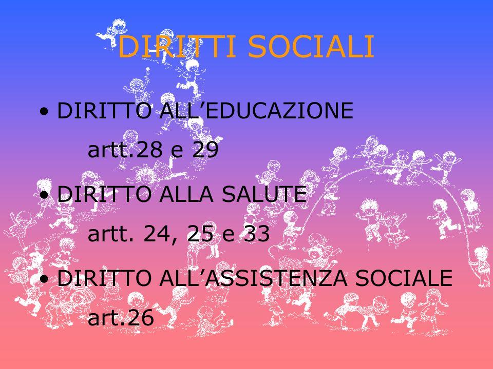 DIRITTI SOCIALI DIRITTO ALL'EDUCAZIONE artt.28 e 29