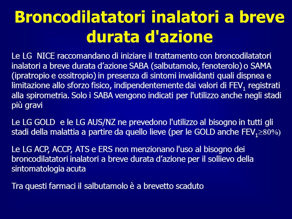 Broncodilatatori inalatori a breve durata d azione