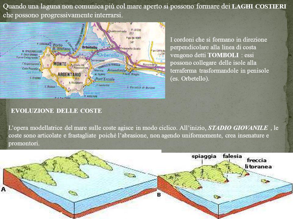 Quando una laguna non comunica più col mare aperto si possono formare dei LAGHI COSTIERI che possono progressivamente interrarsi.