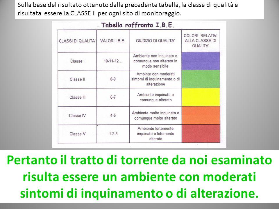 Sulla base del risultato ottenuto dalla precedente tabella, la classe di qualità è risultata essere la CLASSE II per ogni sito di monitoraggio.