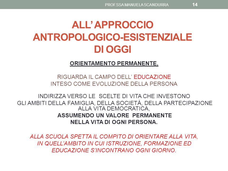 ALL' APPROCCIO ANTROPOLOGICO-ESISTENZIALE DI OGGI