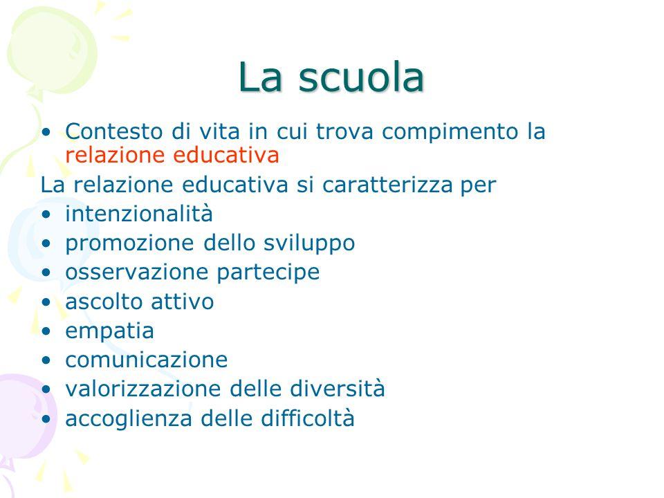 La scuola Contesto di vita in cui trova compimento la relazione educativa. La relazione educativa si caratterizza per.