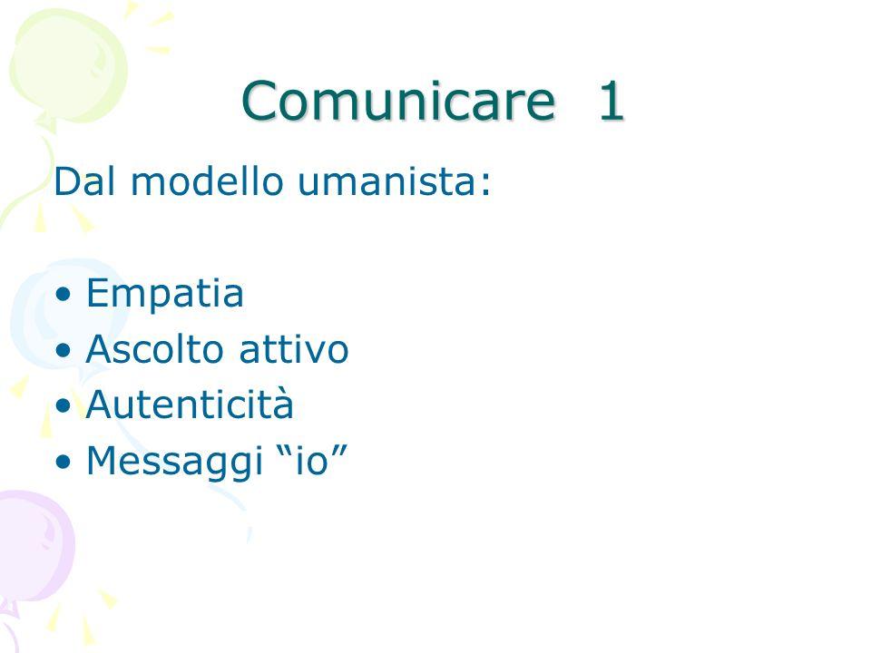 Comunicare 1 Dal modello umanista: Empatia Ascolto attivo Autenticità