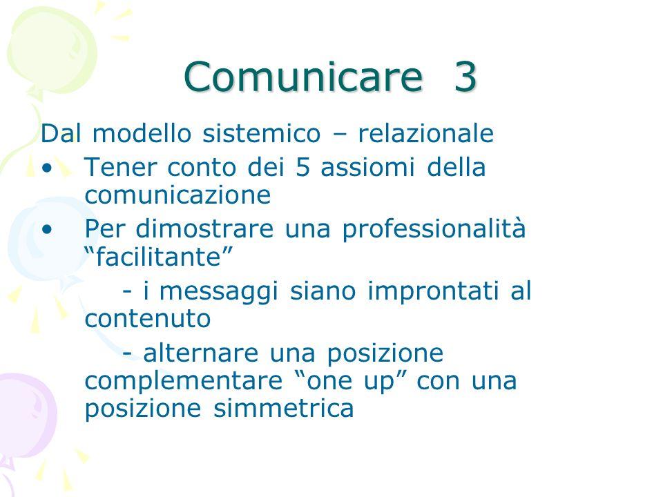 Comunicare 3 Dal modello sistemico – relazionale