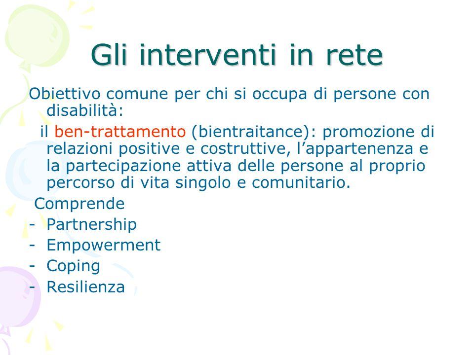 Gli interventi in reteObiettivo comune per chi si occupa di persone con disabilità: