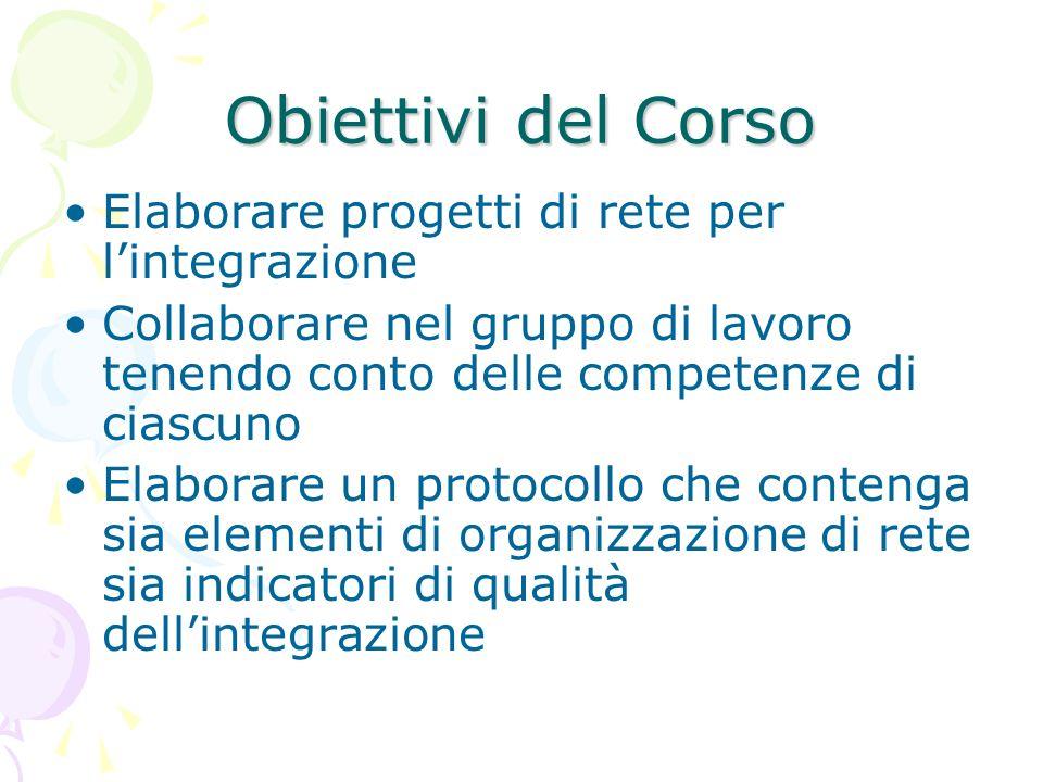 Obiettivi del Corso Elaborare progetti di rete per l'integrazione
