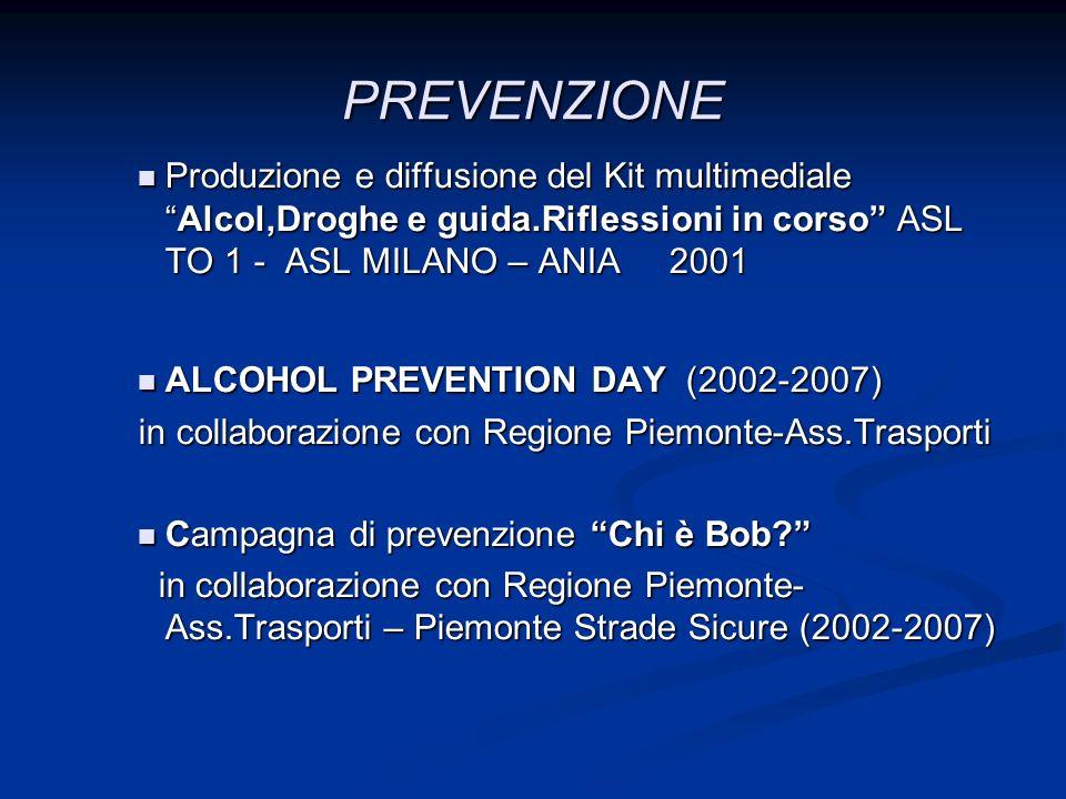 PREVENZIONE Produzione e diffusione del Kit multimediale Alcol,Droghe e guida.Riflessioni in corso ASL TO 1 - ASL MILANO – ANIA 2001.