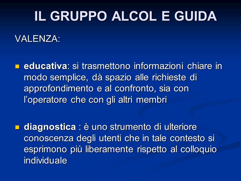 IL GRUPPO ALCOL E GUIDA VALENZA: