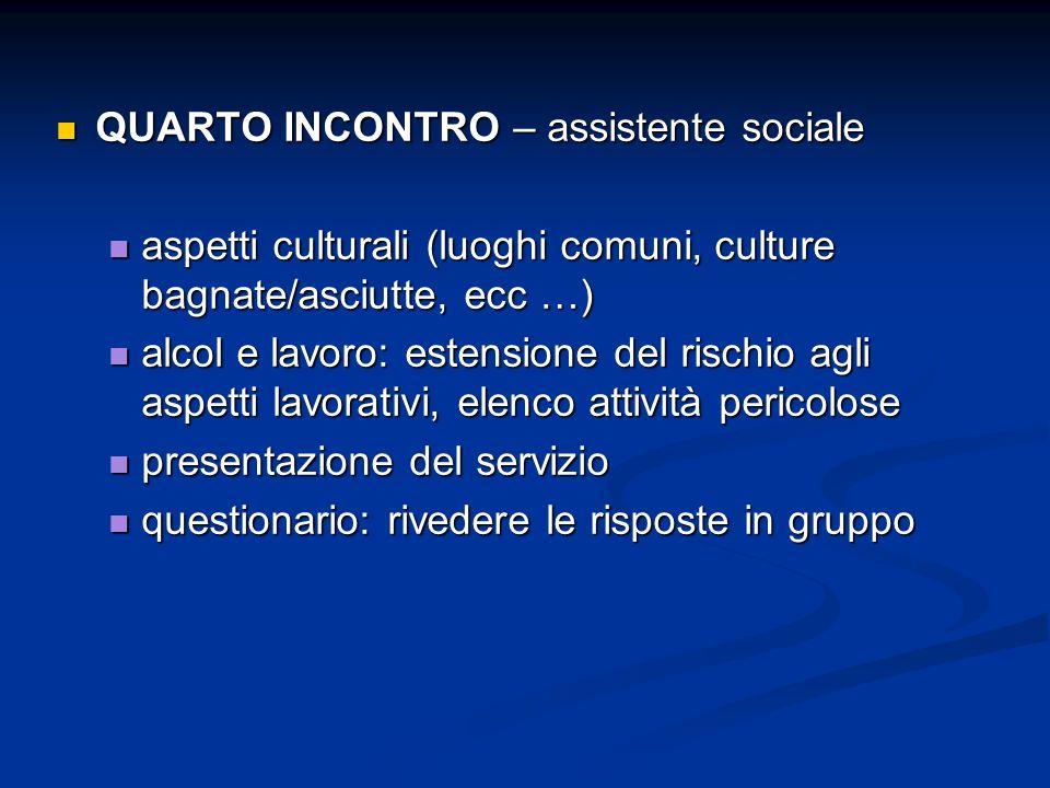 QUARTO INCONTRO – assistente sociale