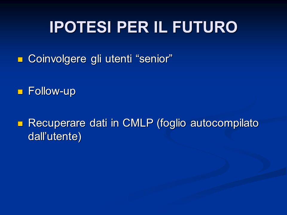 IPOTESI PER IL FUTURO Coinvolgere gli utenti senior Follow-up