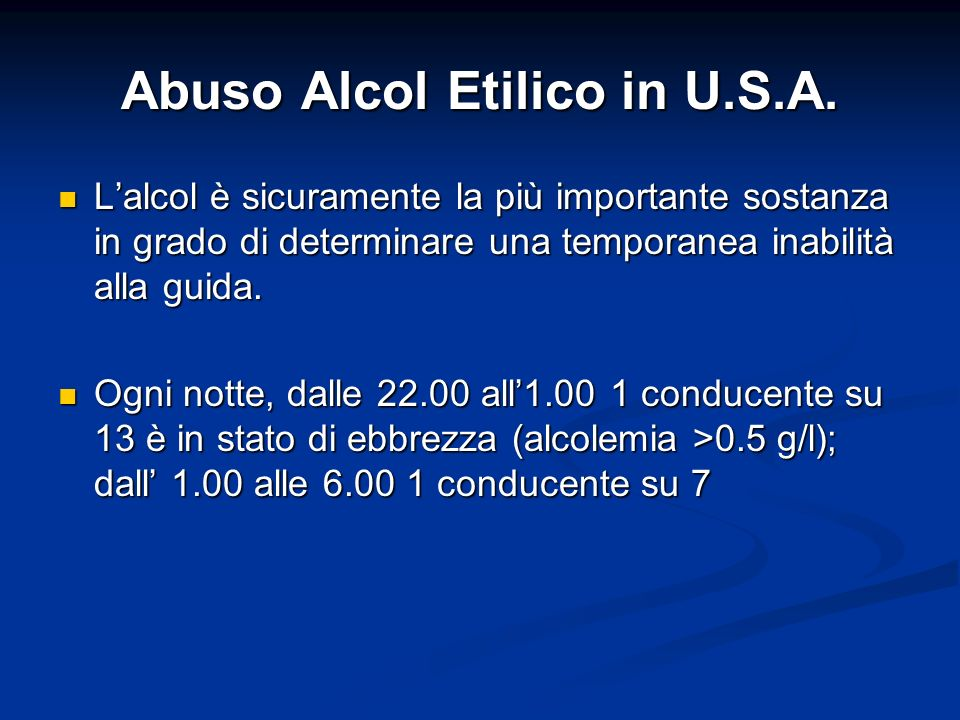 Abuso Alcol Etilico in U.S.A.