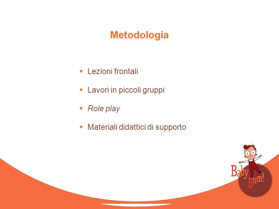 Metodologia Lezioni frontali Lavori in piccoli gruppi Role play