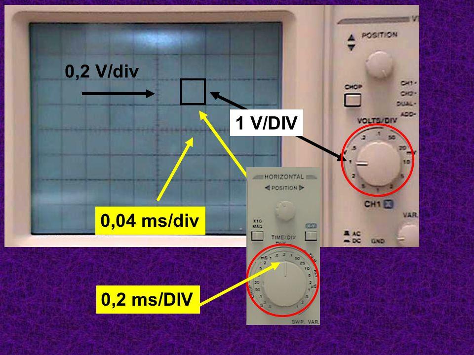 0,2 V/div 1 V/DIV 0,04 ms/div 0,2 ms/DIV