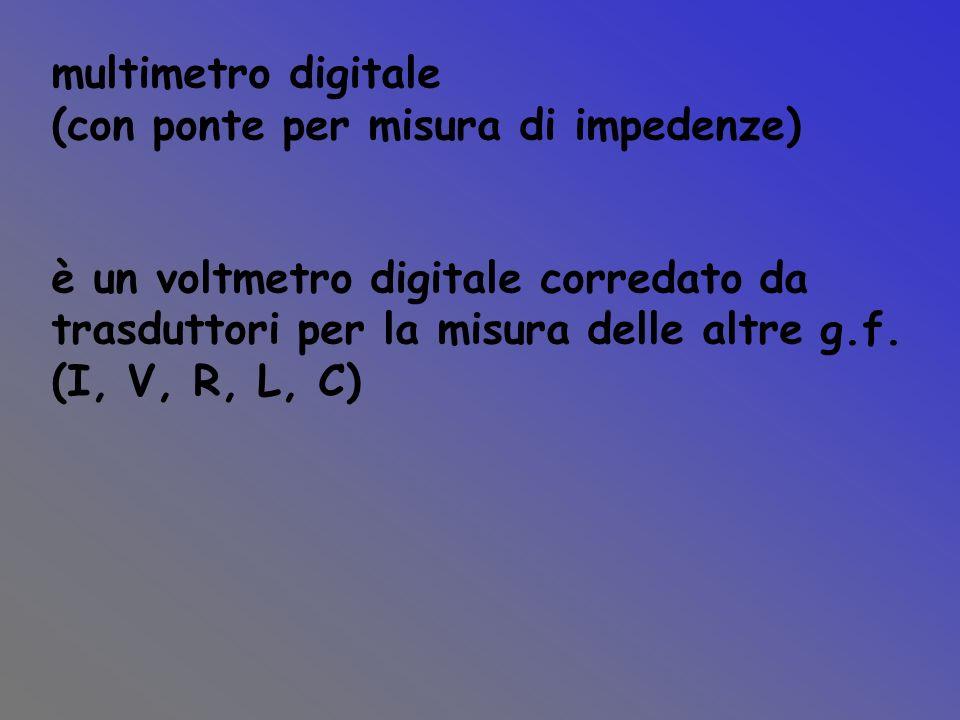 multimetro digitale (con ponte per misura di impedenze) è un voltmetro digitale corredato da. trasduttori per la misura delle altre g.f.