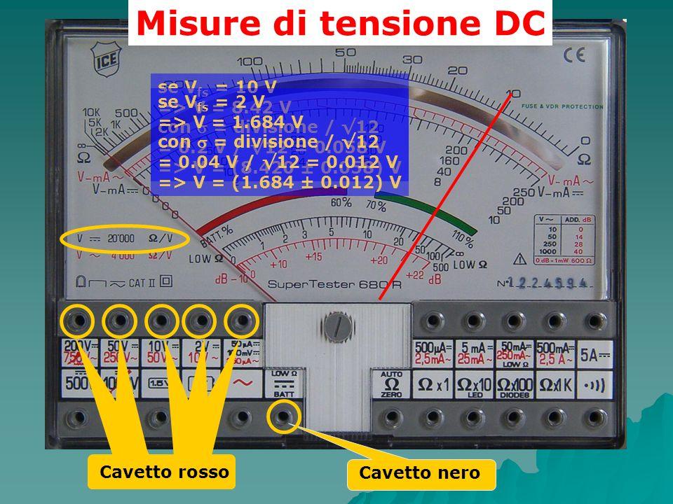 Misure di tensione DC se Vfs = 10 V => V = 8.42 V se Vfs = 2 V