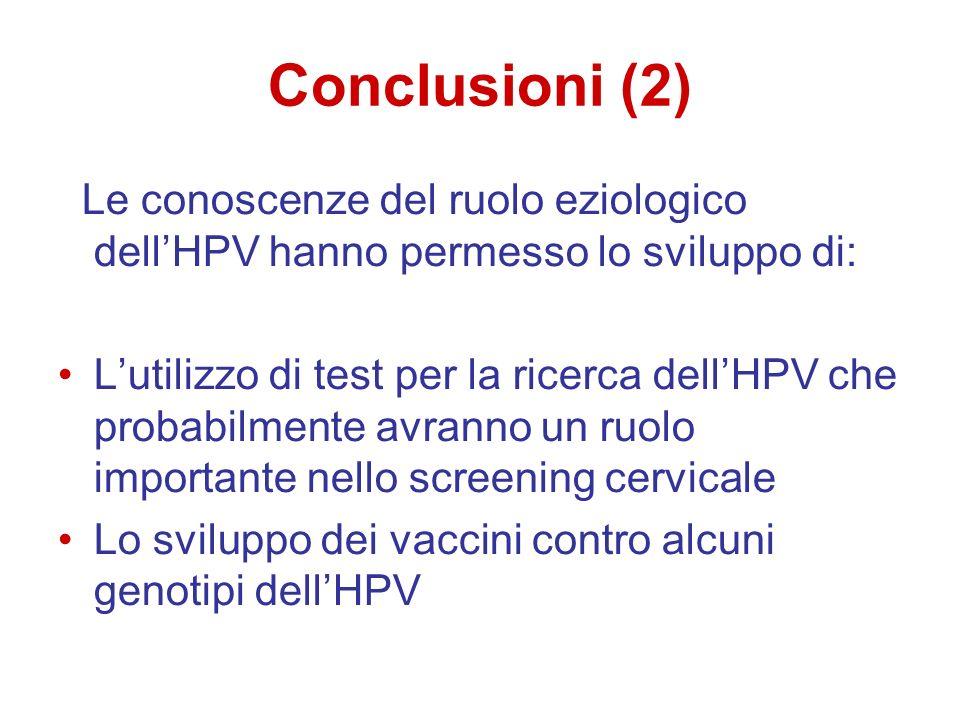 Conclusioni (2) Le conoscenze del ruolo eziologico dell'HPV hanno permesso lo sviluppo di:
