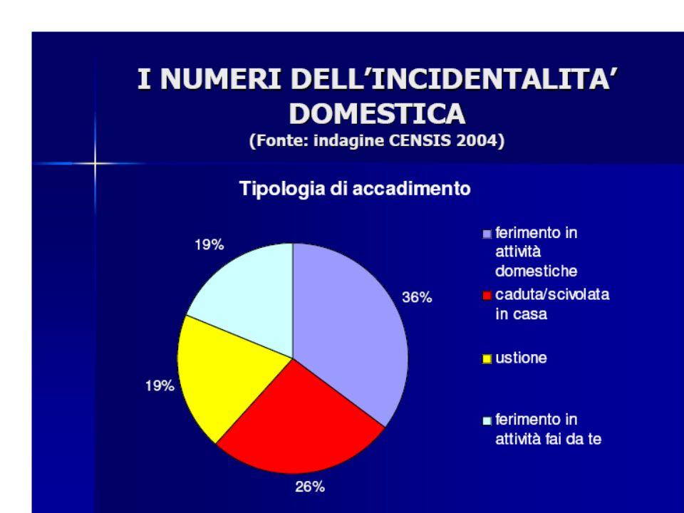 Come precedentemente evidenziato la tipologia di accadimento principale è rappresentata dall'attività domestiche (36%) seguita dalle cadute (26%).