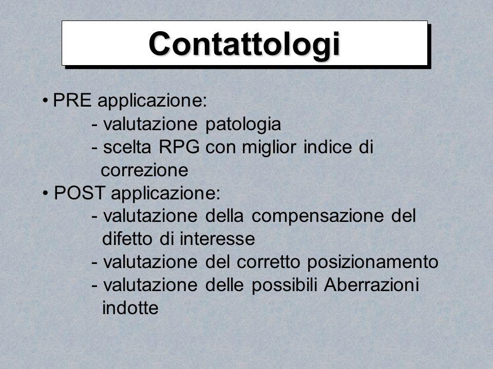 Contattologi PRE applicazione: - valutazione patologia
