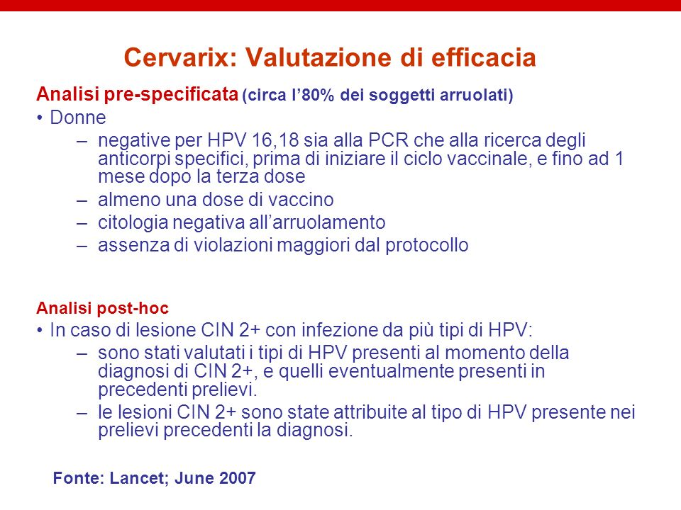 Cervarix: Valutazione di efficacia