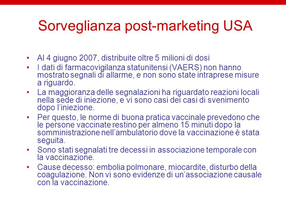 Sorveglianza post-marketing USA