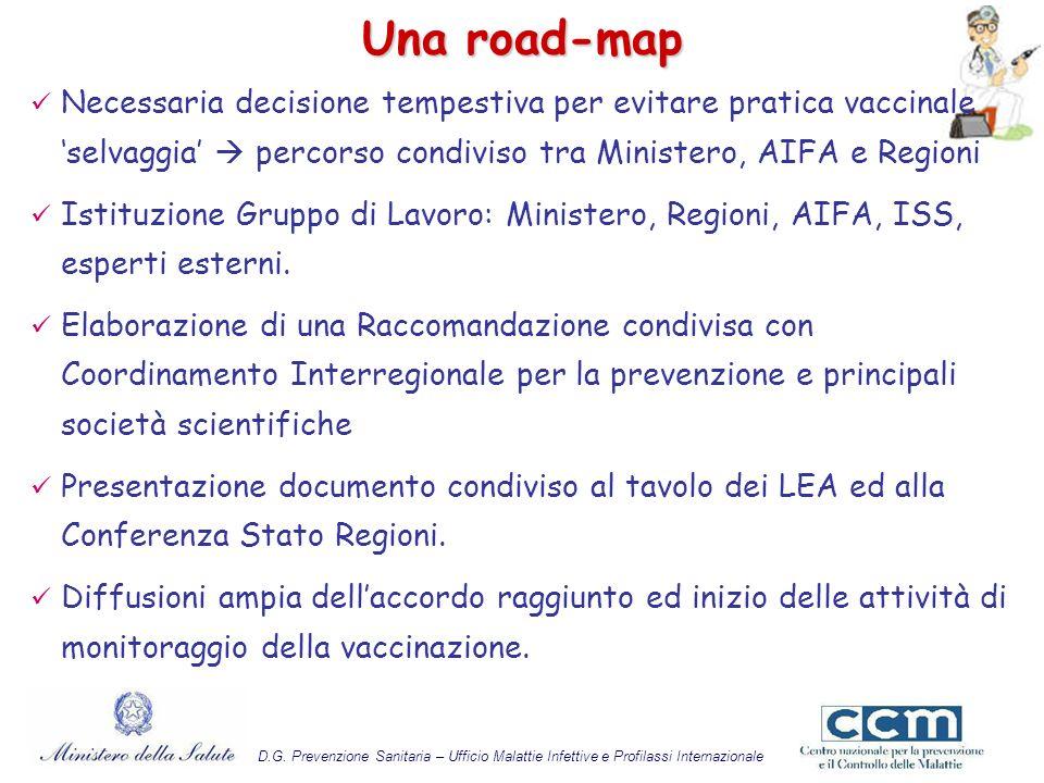 Una road-map Necessaria decisione tempestiva per evitare pratica vaccinale 'selvaggia'  percorso condiviso tra Ministero, AIFA e Regioni.