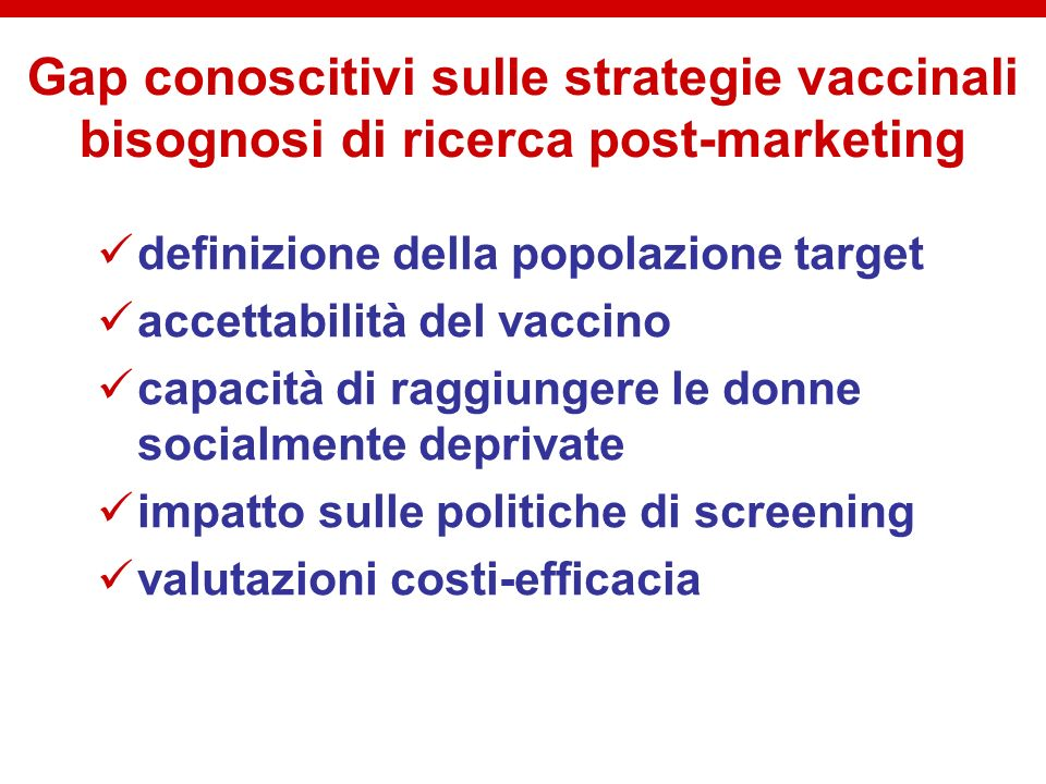 Gap conoscitivi sulle strategie vaccinali bisognosi di ricerca post-marketing