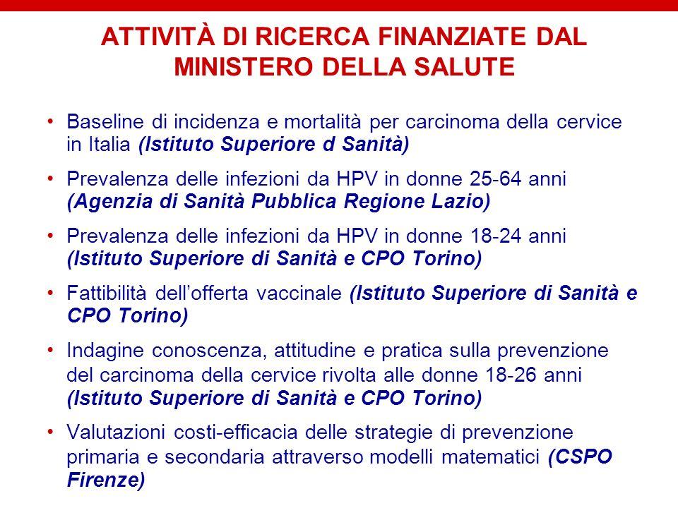ATTIVITÀ DI RICERCA FINANZIATE DAL MINISTERO DELLA SALUTE