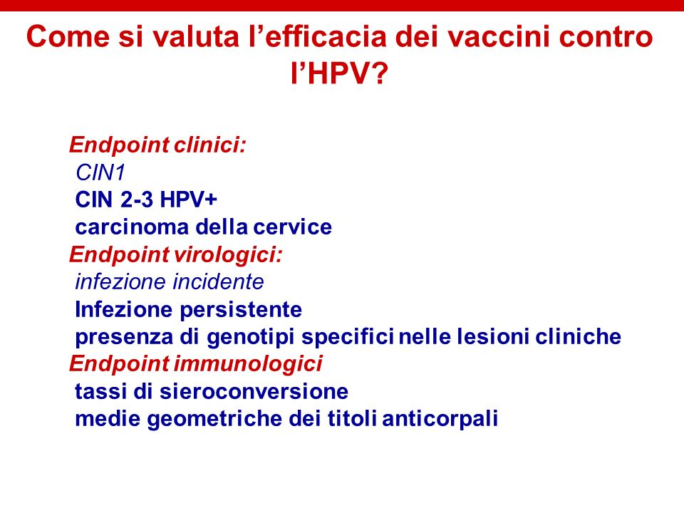 Come si valuta l'efficacia dei vaccini contro l'HPV