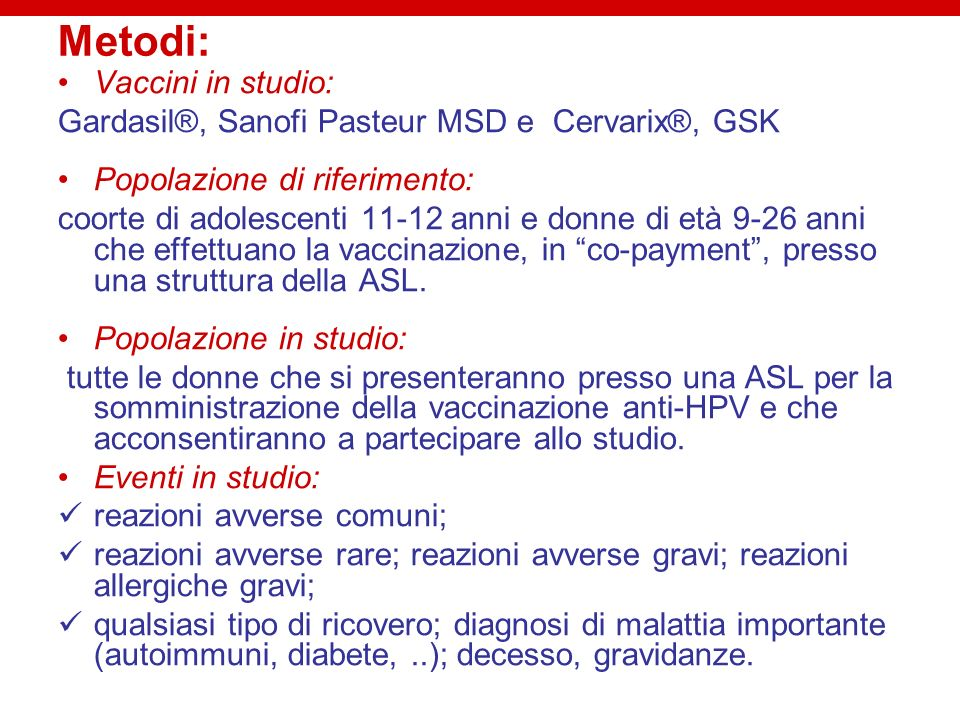 Metodi: Vaccini in studio: