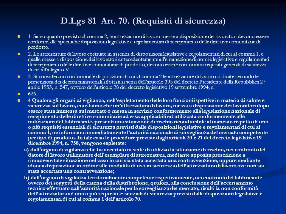 D.Lgs 81 Art. 70. (Requisiti di sicurezza)