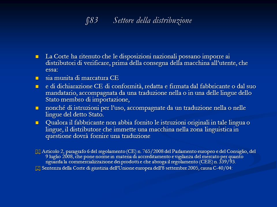 §83 Settore della distribuzione