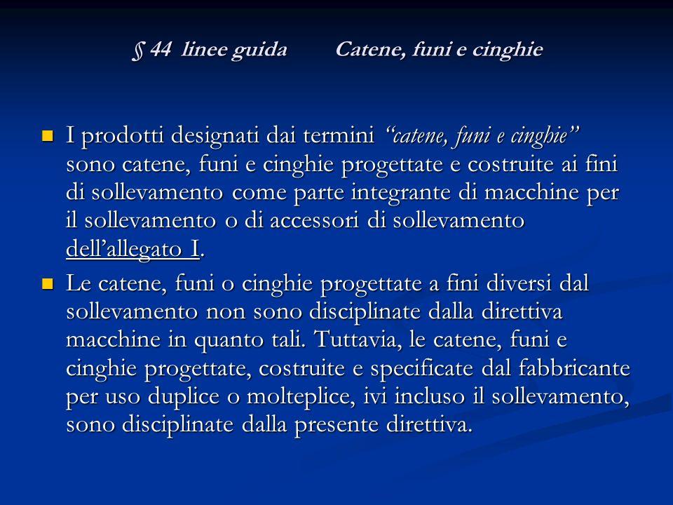 § 44 linee guida Catene, funi e cinghie