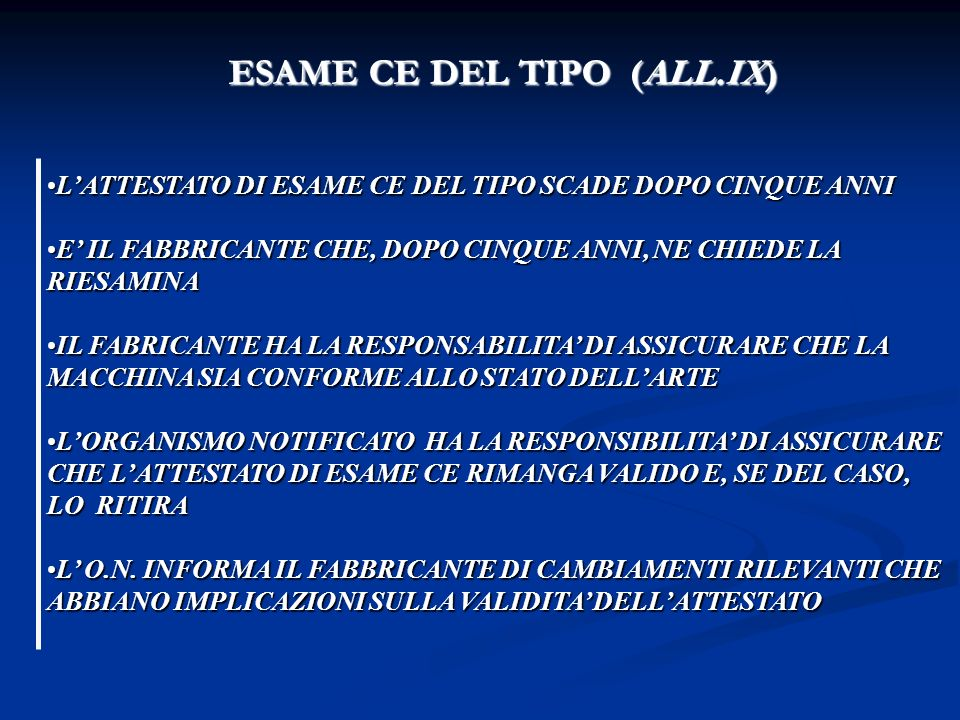 ESAME CE DEL TIPO (ALL.IX)