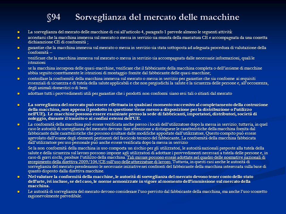 §94 Sorveglianza del mercato delle macchine