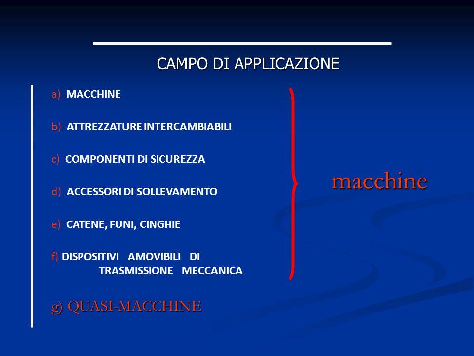 macchine CAMPO DI APPLICAZIONE g) QUASI-MACCHINE a) MACCHINE