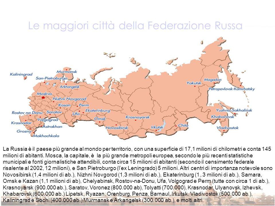 Le maggiori città della Federazione Russa