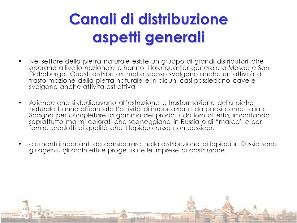 Canali di distribuzione aspetti generali