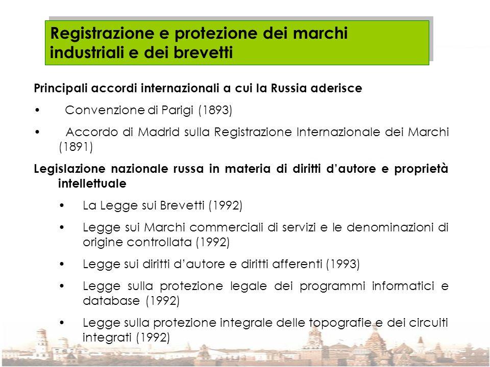 Registrazione e protezione dei marchi industriali e dei brevetti